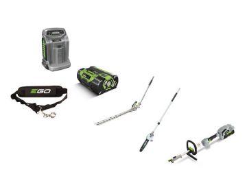 EGO multitoolset MHCC1002E incl. basismachine, stokheggenschaar 51 cm, stokkettingzaag 25 cm, schouderriem, 2,5 ah accu en snellader en multitooltas